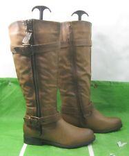 """new Brown 1""""Heel Side Belt/Buckles Sexy Knee Boots US WOMEN Size 6"""