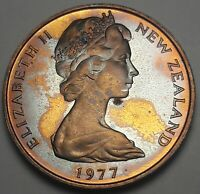 1977 NEW ZEALAND 20 CENTS PROOF BU UNC BEAUTIFUL COLOR TONED COIN