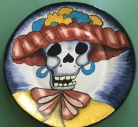 """11.5"""" Mexican Pottery Hanging Plate Dia De Los Muertos Day Of The Dead Woman"""