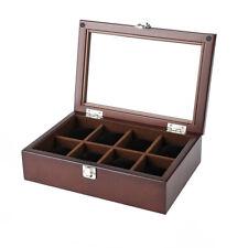 Wood Transparent Display Watch Jewelry Storage Holder Case 8 Slots Organizer Box