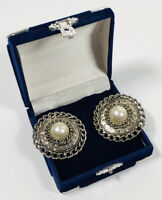 HUGE Vintage Clip On Earrings Gold Tone Discs & Faux Pearl Centre Power Dressing