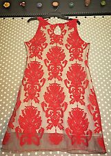 NWT Anthropologie Chelsea and Violet Red/nude Dress size large retails 158.00
