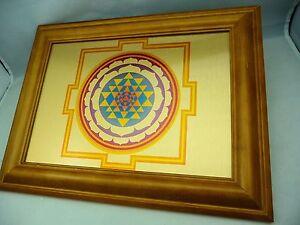 Sri-Yantra Wall Art - Exclusive Print on a brushed Gold Metal - Teak Wood Frame