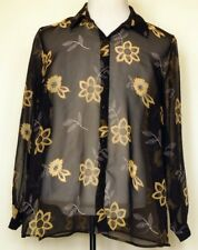 JM Collection Sheer Black and Yellow Floral Button-Front Blouse Shirt 18W