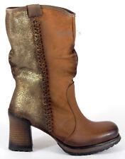 BUNKER Stiefel 39 Nappa LEDER CognacBraun Plateau Portugal Stiefelette Boots NEU