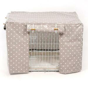 """Lords & Labradors Dog Crate or Cage Cover Oilcloth Grey Spot -36"""" By Hidey-Hidey"""