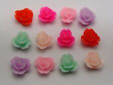 50 Mixed Color Cabochon Juliet Rose Flower Flatback Resin 8mm DIY Embellishment