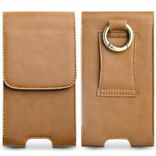 Real Leather Vertical Belt Clip Loop Holster Pouch Case For Universal Cell Phone