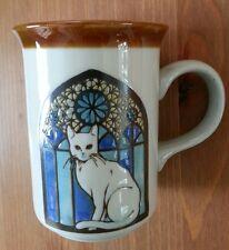 Otagiri mug white cat stained glass window church 10 oz label vintage japan