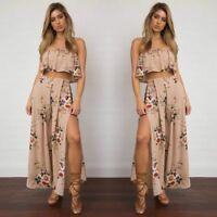 Summer Women Bandage Floral Casual Beach Crop Top+ Long Skirt Dress 2Pcs Set