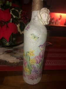 Shabby Chic Decoupage Floral Bottle/light/gift/christmas/handmade/unique