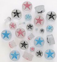 1 Pair Clear Acrylic Glitter Star Saddle Plugs Ear Gauges Double Flare You Pick
