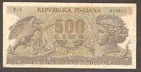 500 lire ARETUSA serie T19 senza fibrille decreto 1970 rarissima BB/SPL no FDS