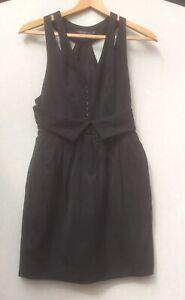 ALLSAINTS BLACK MINI WAISTCOAT SCARLATINE DRESS - SIZE 6