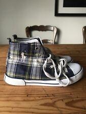 Boys Ralph Lauren Polo Blue Tartan Hightops Sneakers 2