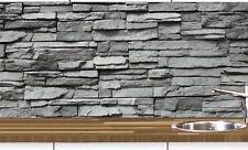 1a Küchennischen Deko SET Wand Küchen Spritzschutz Wandschutz Naturstein grau 68