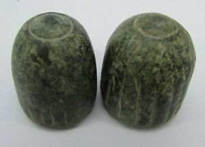 2 Ancient chess man in green and black stone from Afghanistan