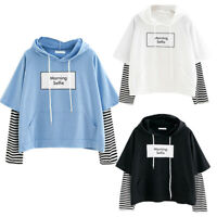 Women Casual Sweatshirt Hooded Long Sleeve Crop Patchwork Blouse Pullover Tops