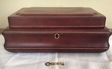 Antique English Victorian Red Leather Jewelry Box w/ Key. 1900s.