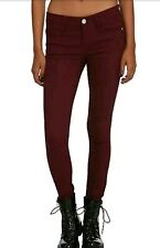 Women's Almost Famous Dark Red Low-Rise Super-Skinny Stretchy Jeans Junior's 0