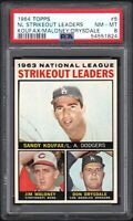 1964 TOPPS #5 NL STRIKEOUT LEADERS KOUFAX/MALONEY/DRYSDALE PSA 8 NM/MT