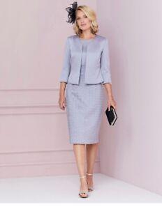 Nightingales Textured dress and bolero jacket size 10, silver/Grey, Brand New