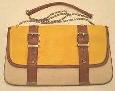 Steve Madden Envelope Clutch Shoulder Crossbody Chain Purse HandBag Yellow Brown