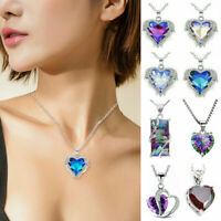 925 Silver Angel Wing Heart Rhinestone Crystals Chain Pendant Necklace Jewelry