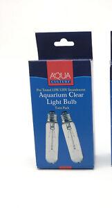 TWIN PACK AQUA BULB 15W/120V INCANDESCENT aquarium clear bulbs 2 PRBOX LIGHT
