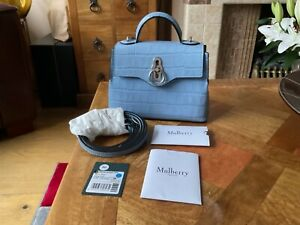 Mulberry Micro Seaton Bag Croc Leather in Pale Slate. New.