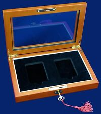 Wood Glass-top Display Box - 2 Certified PCGS NCG Premier Coin Slabs With Key