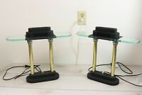 Pair Vintage Bauhaus Modernist Style Table Desk Lamp Brass Glass Dimmable MCM