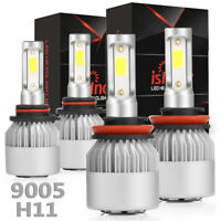 ISINCER 4PCS Combo 9005+H11 LED Headlight Kit High Low Beam Bulbs White 6000K