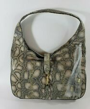 G.I.L.I. Python Snake Print Leather Tote Large Bag New Shoulder Boho Purse Tasel