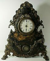 VICTORIAN 1850's MANTEL CLOCK WITH PAINTED CAST IRON FACE WORKING 20''