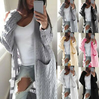 Womens Long Sleeve Knitted Cardigan Sweater Casual Open Front Outwear Coat HY