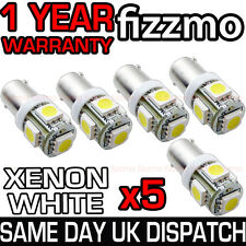 5x 5 SMD LED XENON WHITE SIDE LIGHT BULB 233 T4W BA9S CAP BAYONET 360 DEG UK