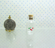 Dollhouse Miniature Glass Jar with Cork and Cherry Decal