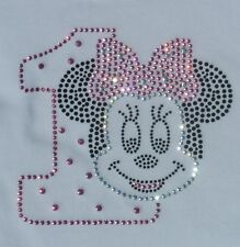 Minnie Mouse pink 1st Birthday bling iron on rhinestone transfer for shirt