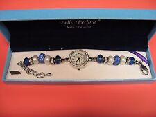 Bella Perlina European Charm & Crystal Bead Bracelet Watch - Blue & White