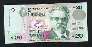 URUGUAY  20 PESOS 1997   PICK # 74b  UNC.