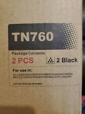 Replacement for Brother TN-760, (2) Black Toner Cartridges