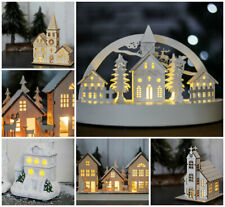 Christmas Ornamental Wooden Church Village Scene Pre-Lit LED Xmas Decoration NEW