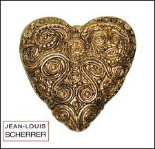 VINTAGE FRENCH SIGNED SCHERRER PARIS TEXTURED GOLD METAL HEART BROOCH PIN