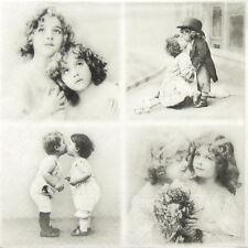 4x solo de papel vintage Servilletas-Sagen pares de los niños-Para Fiesta, Decoupage