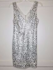 FOREVER 21 ANIMAL PRINT LOW CUT SPARKLY SEQUIN DRESS SIZE SMALL PETITE WHITE