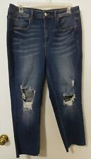 Love and Legend Darkwash Slim Leg Unfinished Hem Distressed Jeans Size 16 NWT