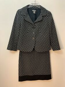 Ann Taylor Black & White Suit Cotton Wool Blend Size 2 Jacket 0 Pencil Skirt