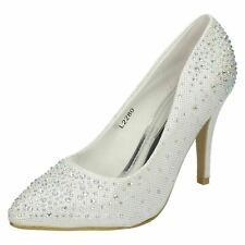 L2R280 - Anne Michelle Blanco en Punta Zapatos Boda Diamante Oferta