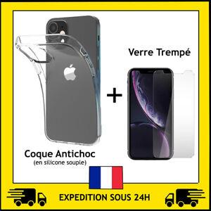PROTECTION VERRE TREMPE + COQUE ANTICHOC IPHONE 5/6/7/8/X/XR/XS MAX/11 12 PRO/SE